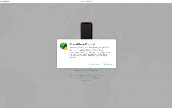 iPhone Suche deaktivieren - Standort ist nicht gespeichert - iPhone löschen