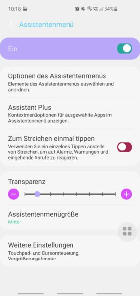 Android - Assistentenmenü