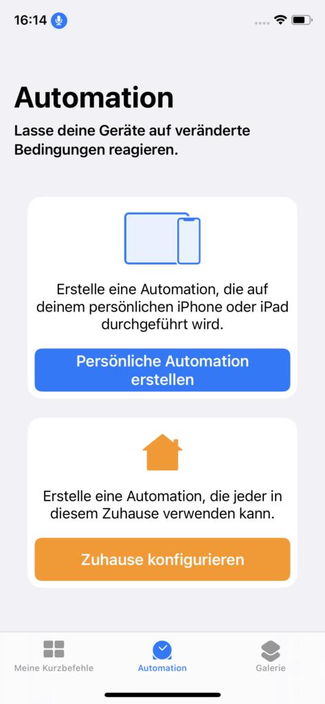 Menüpunkt Automation
